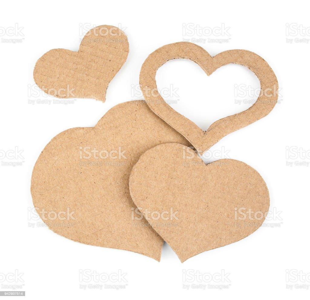 Cutout hearts made of cardboard stock photo