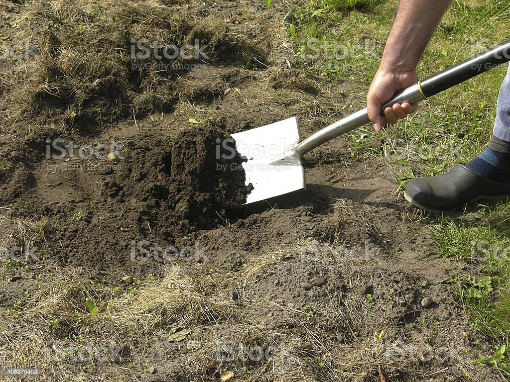 Cutout man with spade doing work in the garden royalty-free stock photo