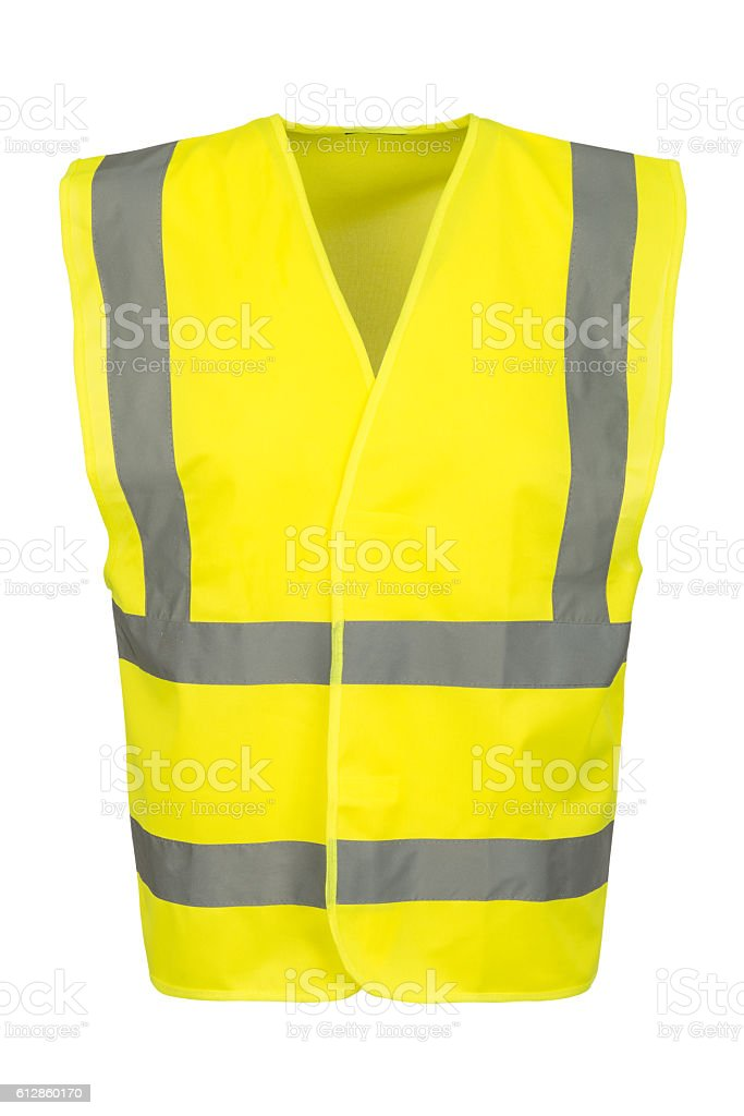 Cutout of Front of Yellow Safety Vest stock photo
