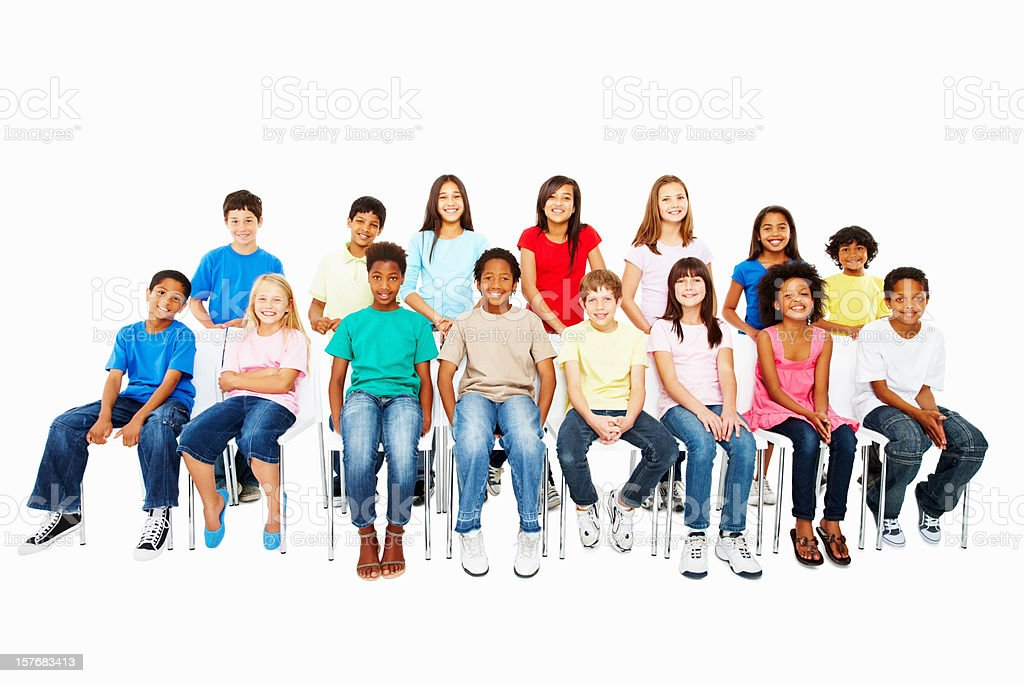 Cutout of innocent multi ethnic group on white - copyspace royalty-free stock photo