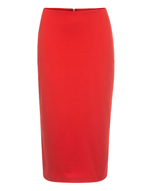 cut-out of plain red pencil skirt on invisible mannequin - rote bleistiftröcke stock-fotos und bilder