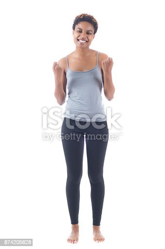 657442382istockphoto Cutout photo of excited young woman smiling for camera 874205628