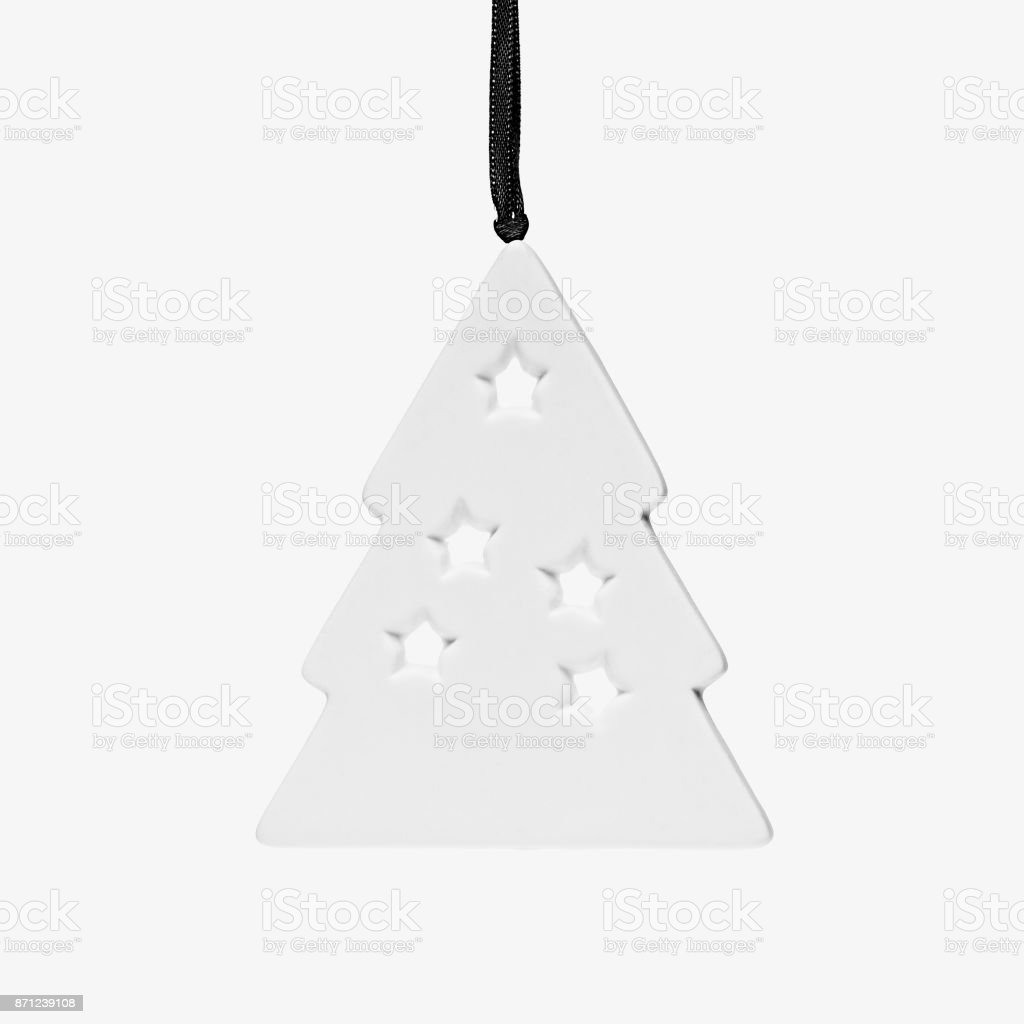 Cutout White Decorative Christmas Tree Closeup Isolated On White