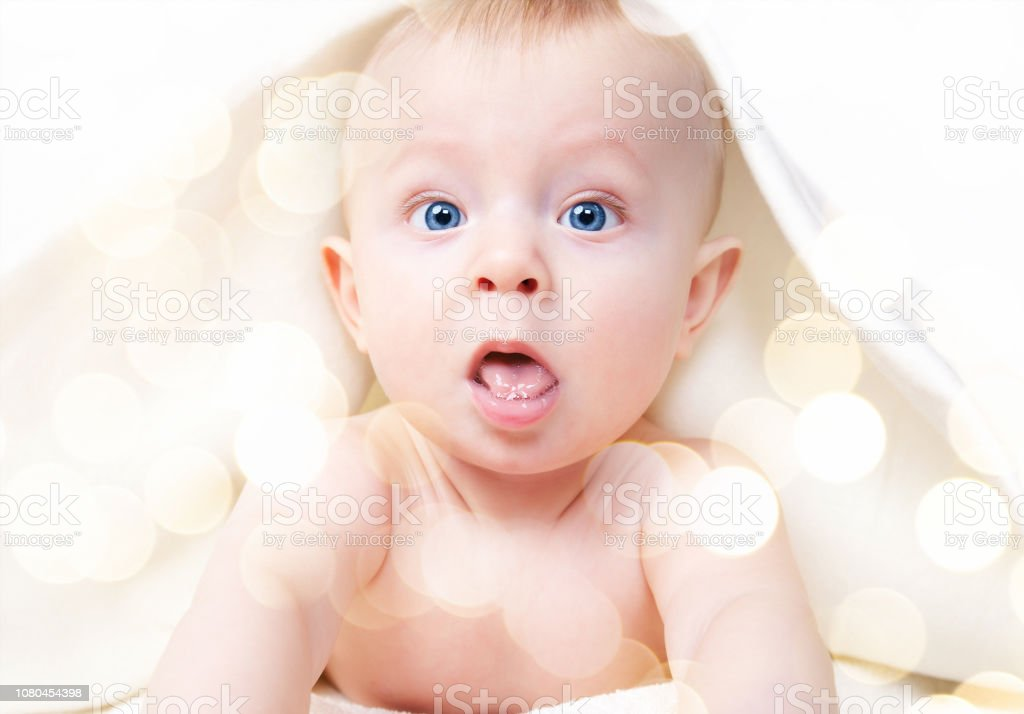Cutr baby boy posing on camera stock photo