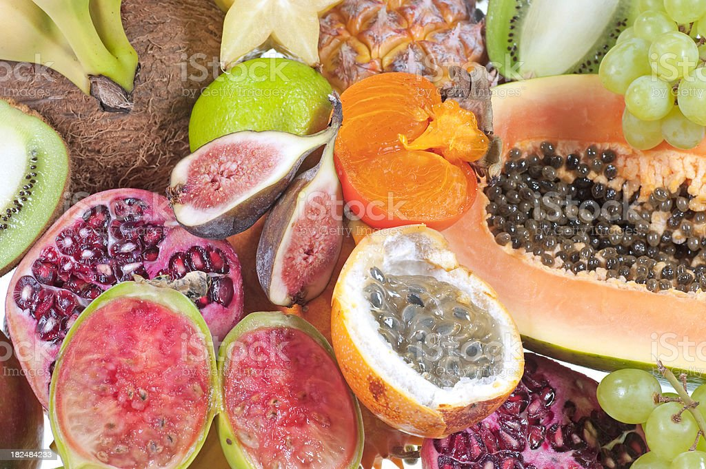 cutted fresh fruits - Tropenfrüchte royalty-free stock photo