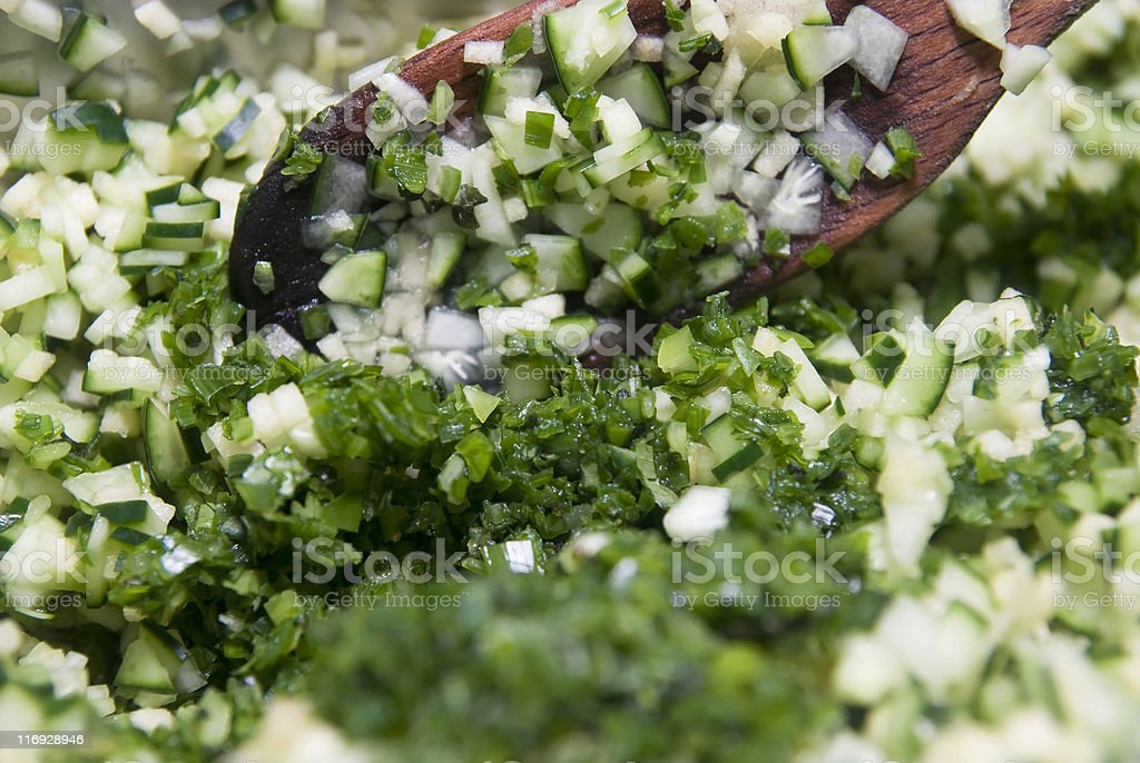 cutted onions and herbs stock photo