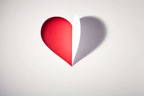 Cutted paper Heart  - Valentines Day Love Card Red Open stock photo