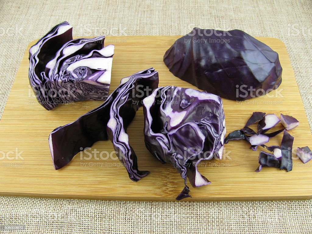 Cutted red cabbage stock photo