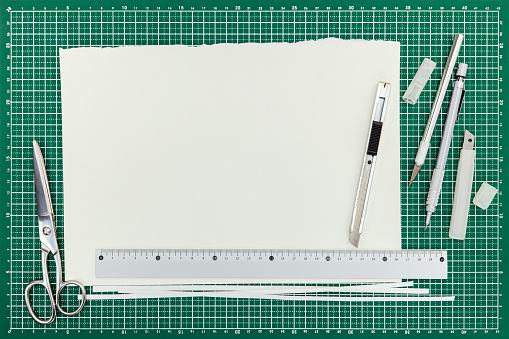 istock cutter with blades, scissors, pencil, ruler and empty paper sheet on cutting mat 838094766