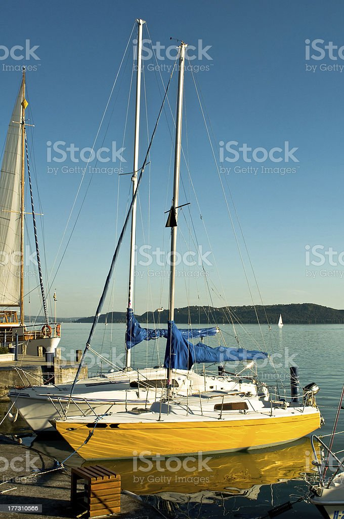 Cutters boarding at the mole royalty-free stock photo
