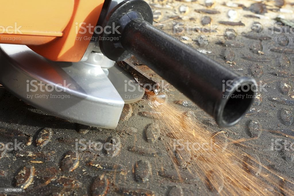 Cutting a Weld royalty-free stock photo