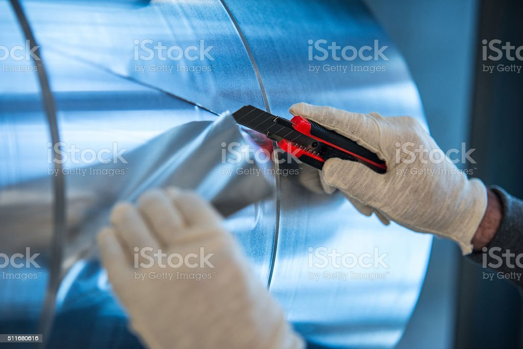 Cutting aluminium stock photo
