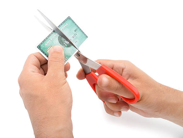 Cutting Amex Credit Card stock photo