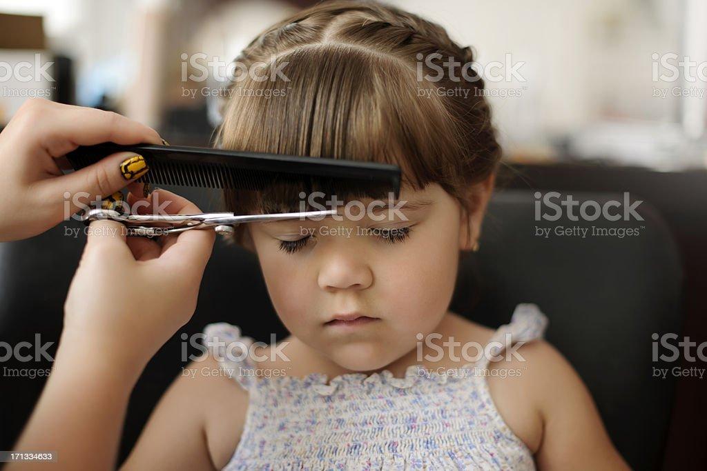 cutting bangs stock photo