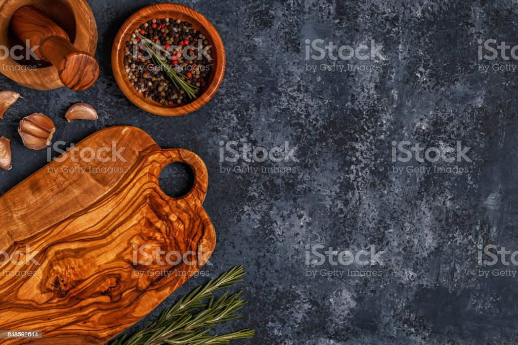 Cutting Board And Spice For Cooking Stock Photo & More Pictures of Above