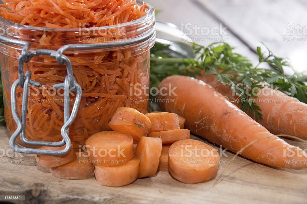 Cutting Board with Carrot Salad royalty-free stock photo