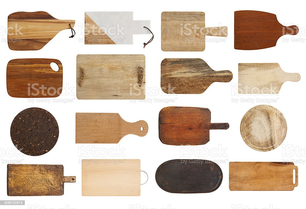 Cutting boards collection stock photo