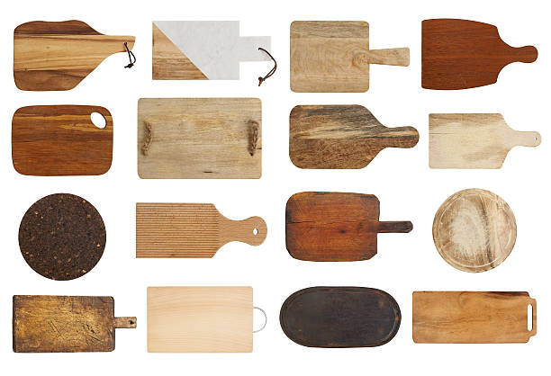 Cutting boards collection Empty cutting boards isolated on white cutting board stock pictures, royalty-free photos & images