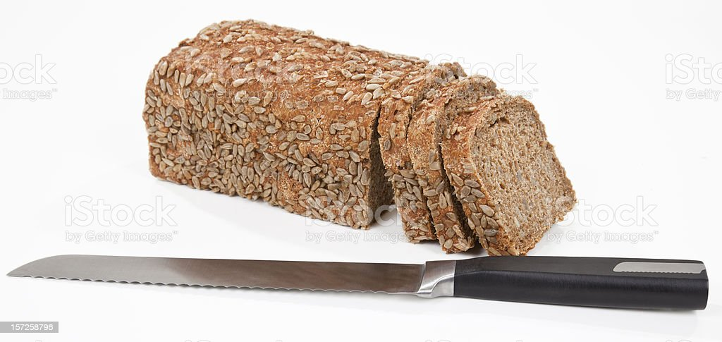 Cutting Bread Isolated royalty-free stock photo