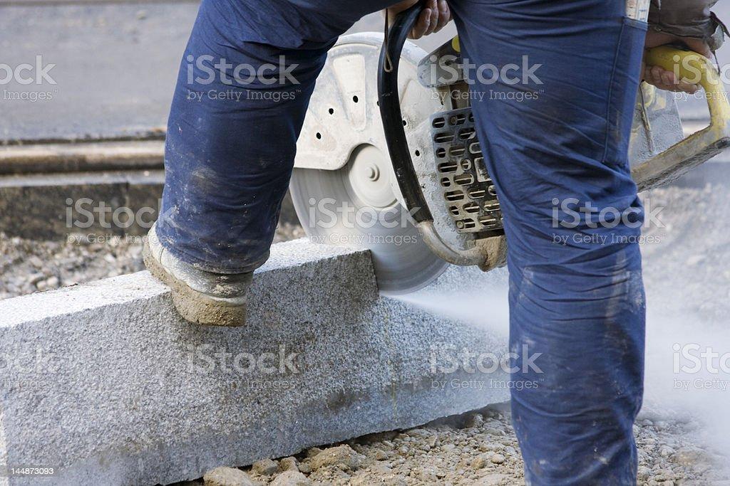 Cutting brick royalty-free stock photo
