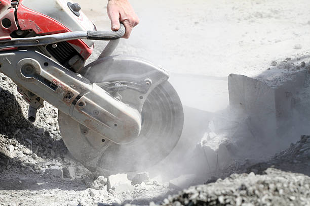 Cutting Concrete stock photo