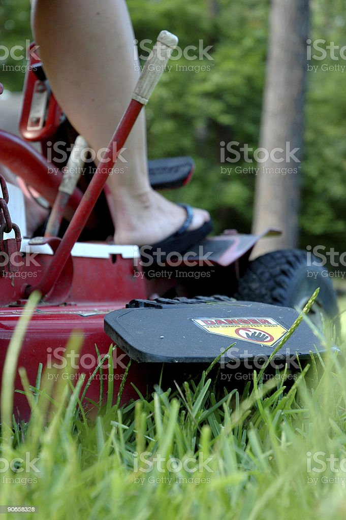 cutting grass on riding mower royalty-free stock photo