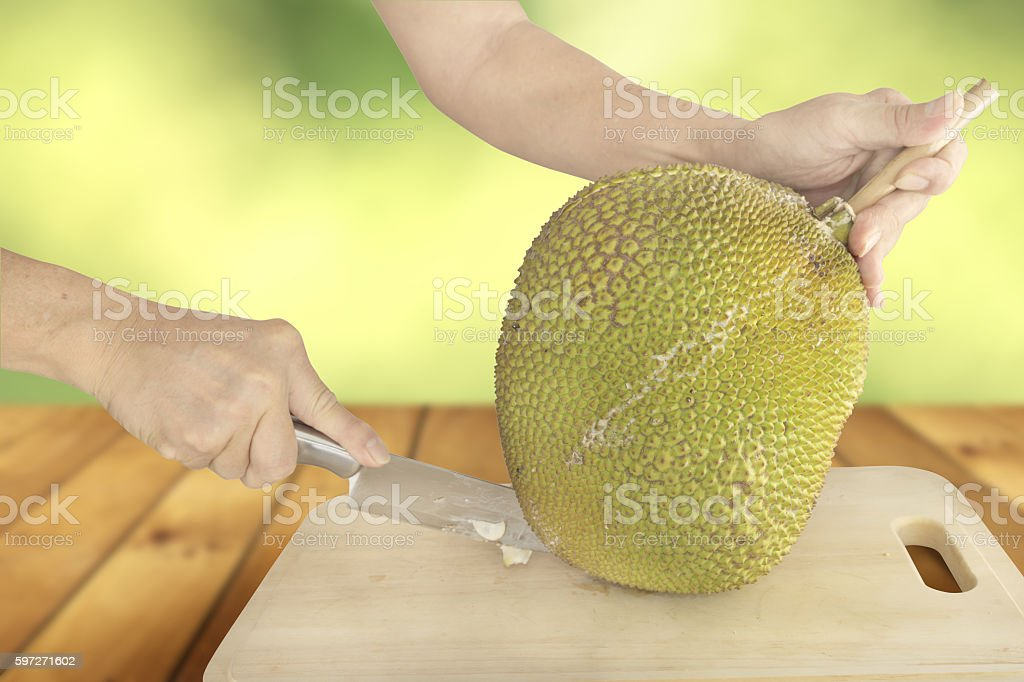Cutting Jackfruit royalty-free stock photo