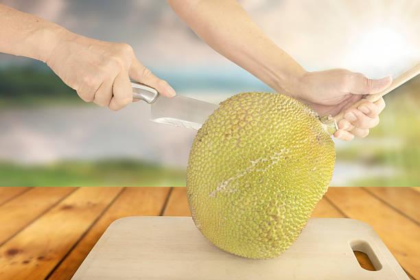 cutting jackfruit - jackfrucht stock-fotos und bilder