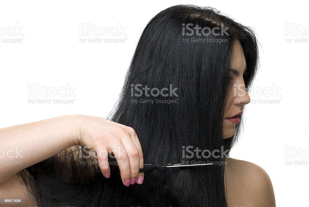 Cutting long hair royalty-free stock photo