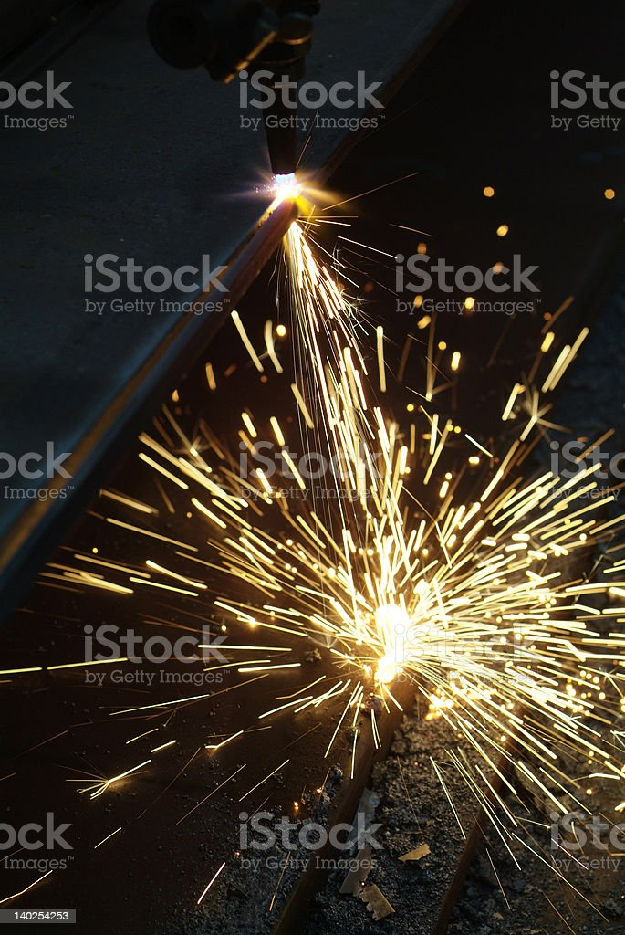Cutting of steel plates royalty-free stock photo