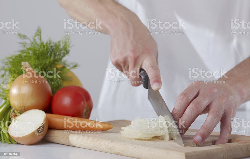 cutting onion royalty-free stock photo