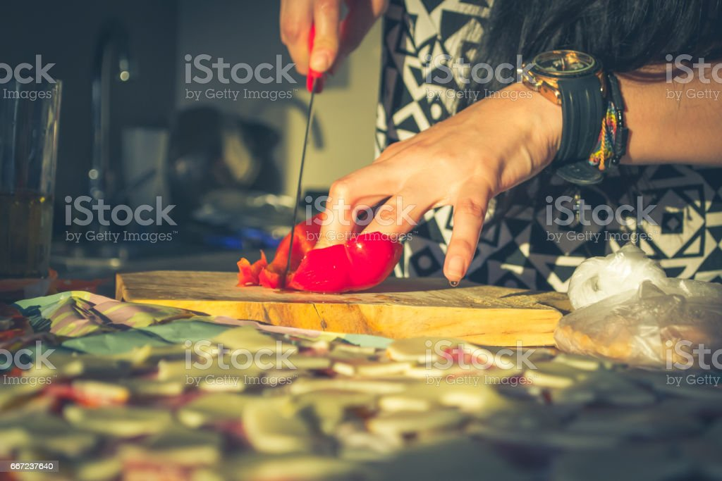Cutting paprika stock photo