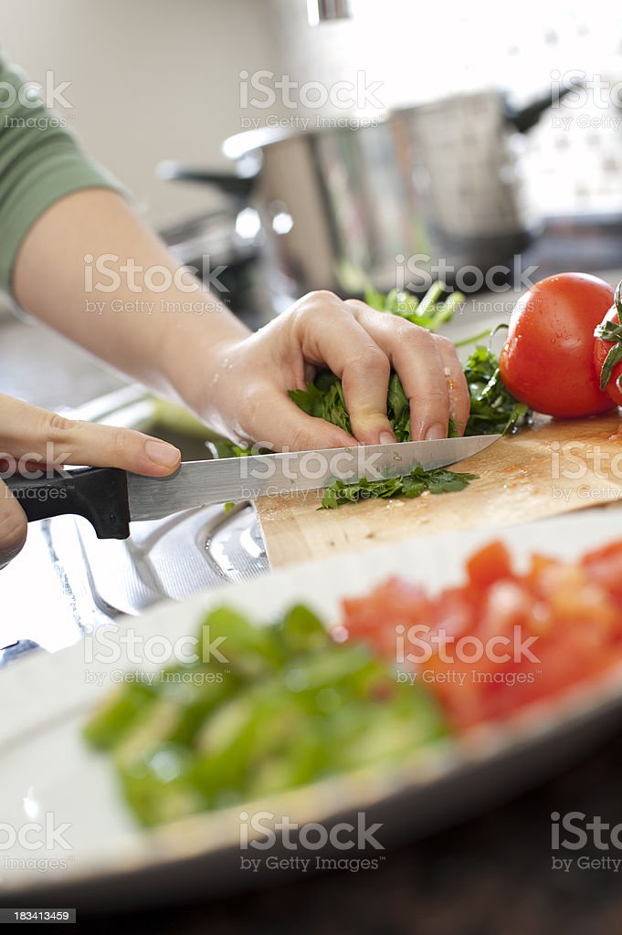 Cutting Parsley royalty-free stock photo