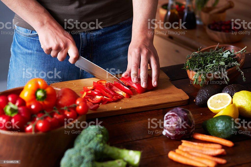 Cutting pepper stock photo