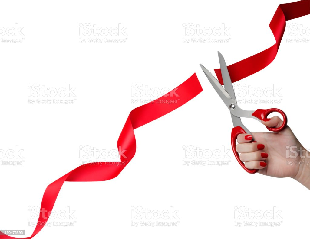 Cutting Red Ribbon Opening Ceremony stock photo