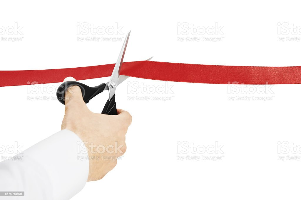 Cutting Red Ribbon stock photo