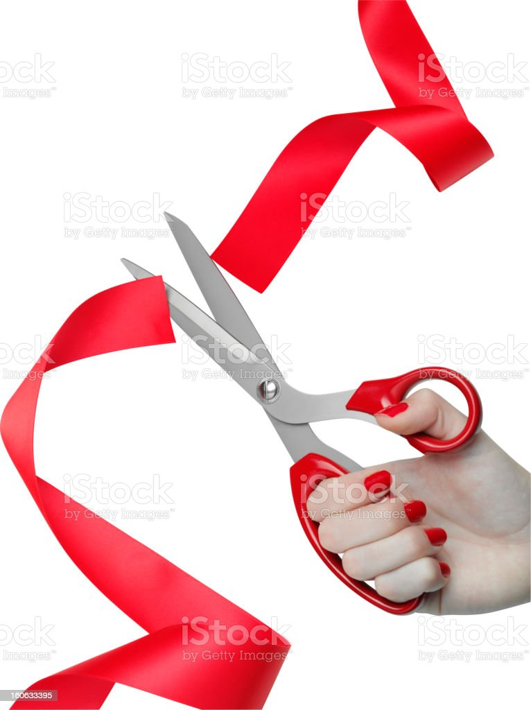 Cutting Red Ribbon royalty-free stock photo