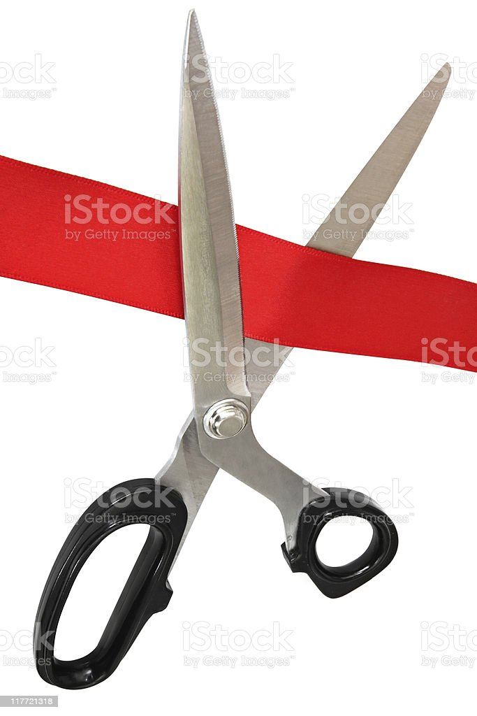 Cutting Red Tape stock photo
