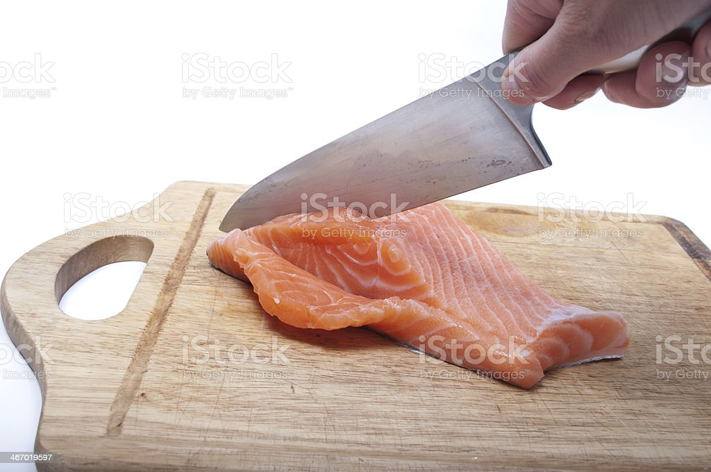 Cutting salmon royalty-free stock photo