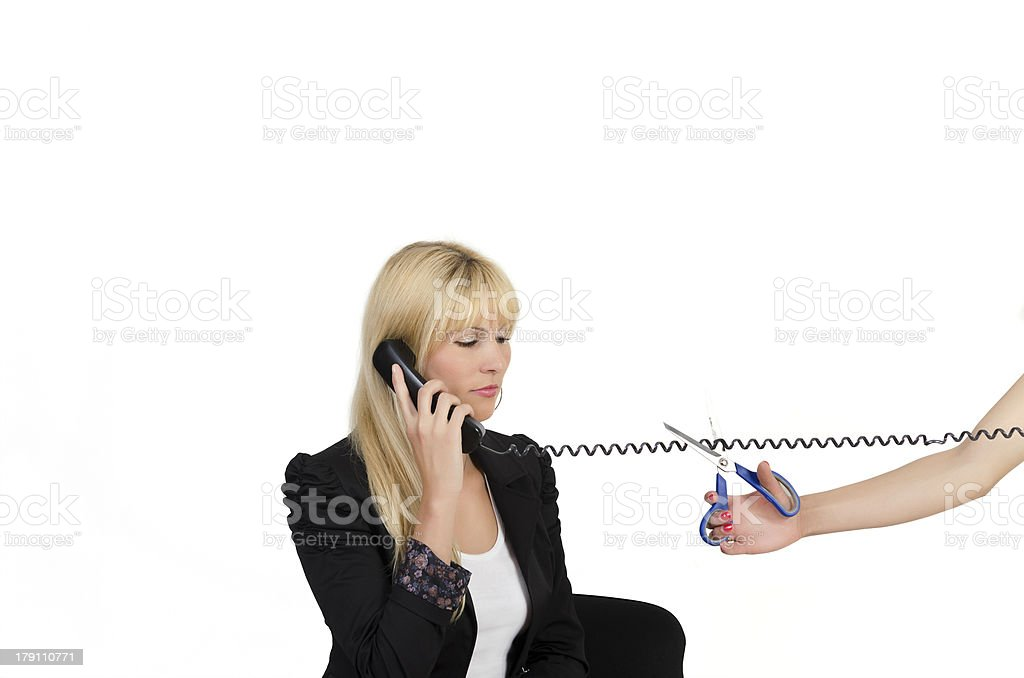 Cutting telephone cable royalty-free stock photo