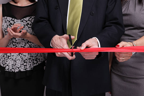 Cutting The Red Ribbon stock photo