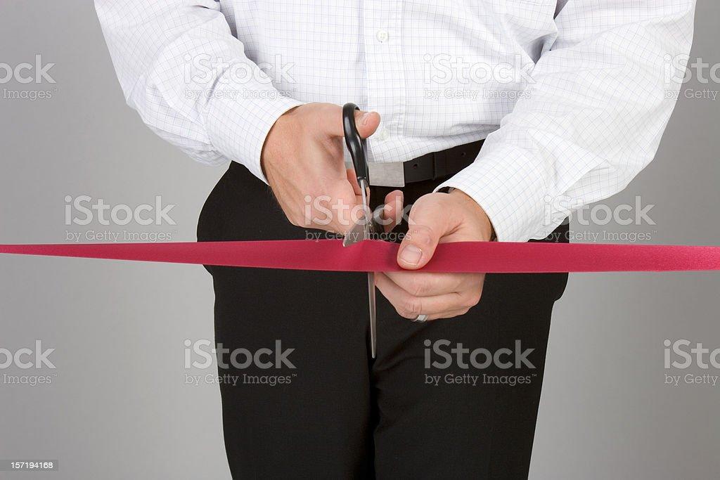 Cutting the ribbon royalty-free stock photo