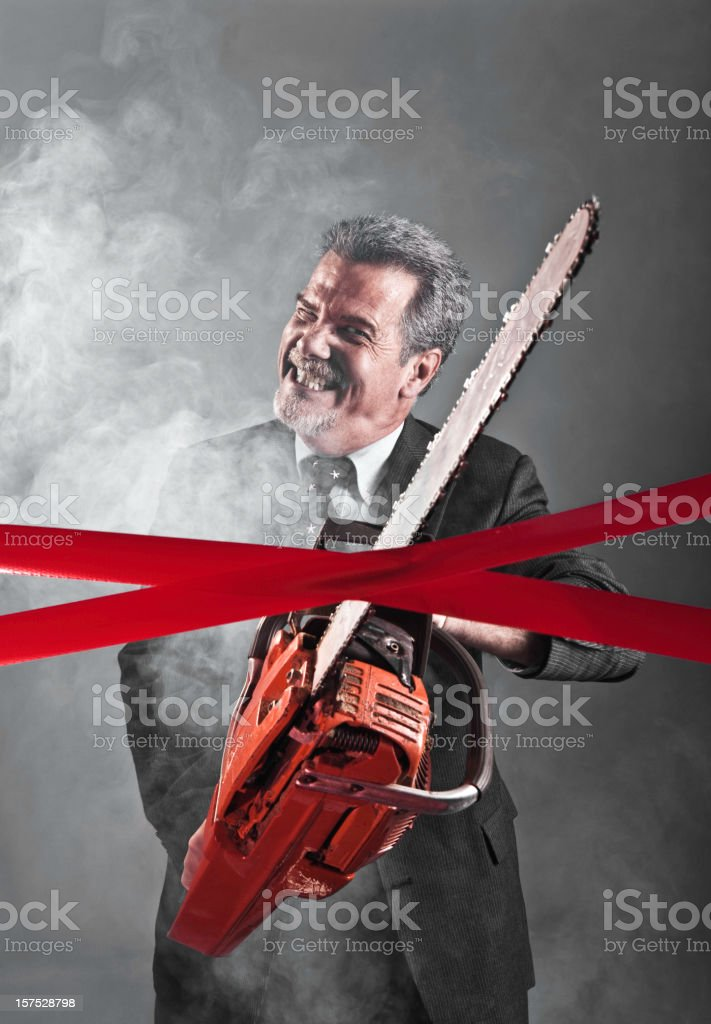 Cutting through Red Tape stock photo