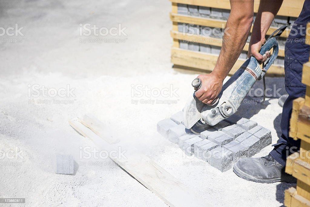 Cutting through stone royalty-free stock photo