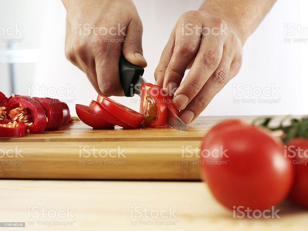 cutting tomato royalty-free stock photo