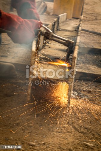 Blowtorch on construction site