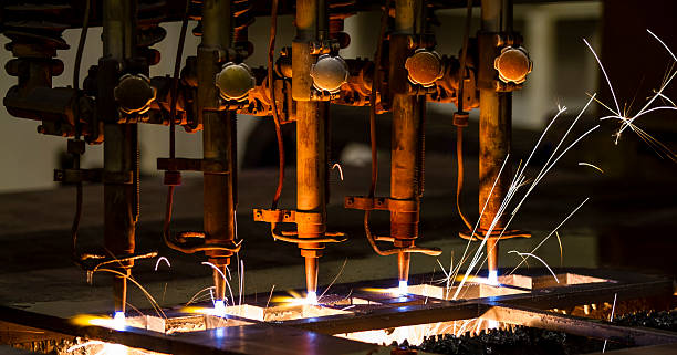 CNC LPG cutting with sparks close up stock photo