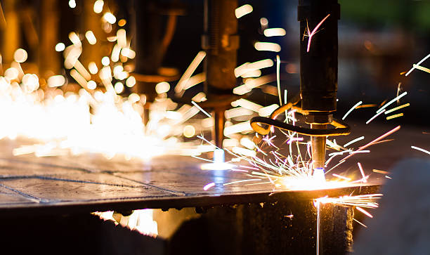 CNC LPG cutting with sparks stock photo