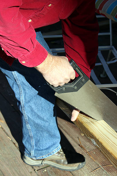 cutting wood with a hand saw - pam schodt stock photos and pictures