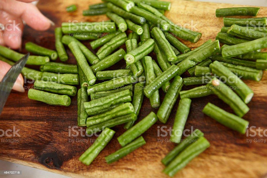 Cutting yardlong bean stock photo